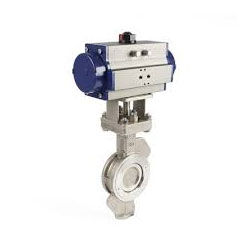 CF8M Stainless Steel Double Acting Pneumatic Butterfly Valve